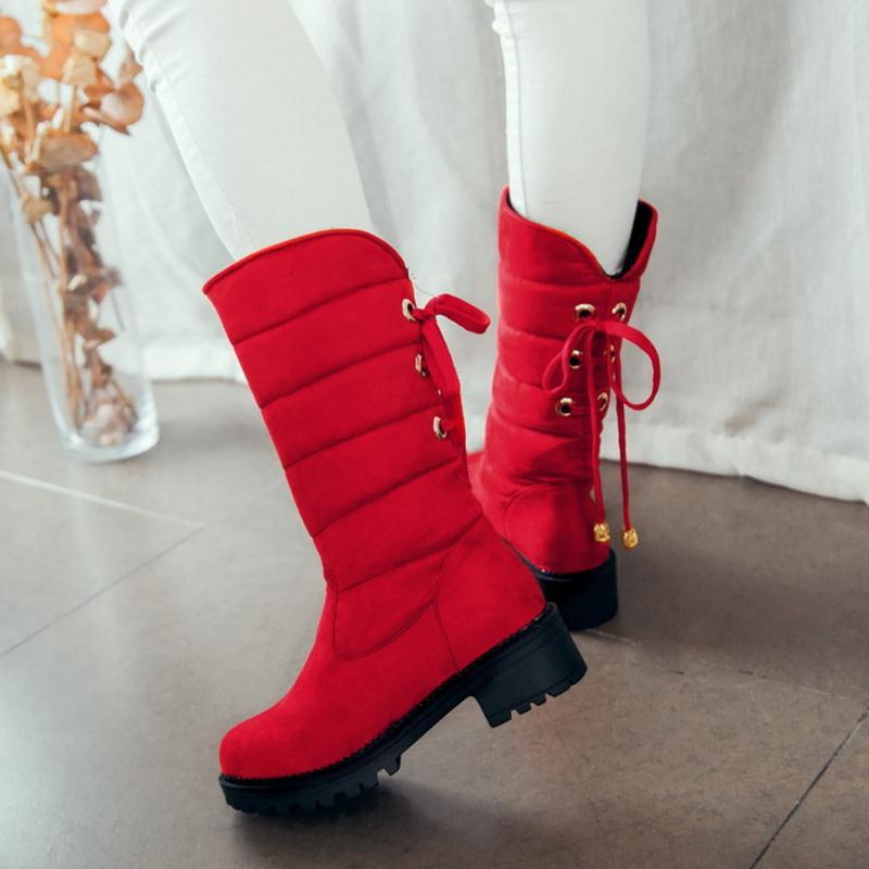 Las 52 Nieve Llegan 30 2016 Media Pantorrilla Caliente De Mujeres Calzado Nuevo Botas La rojo Plataforma gris Mantener Tamaño Piel Zapatos Invierno Moda Gruesa Para Negro wBxIa1qx
