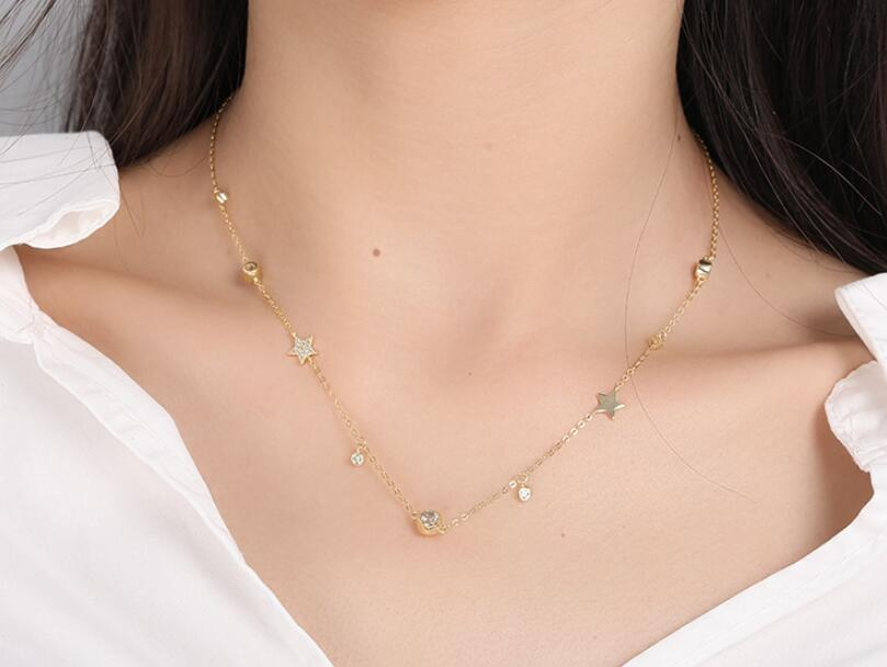 2019 Bling zirconia vermeil 925 Sterling Silver Cute Star Choker Charm Necklaces Charming Women Jewelry Fine Silver Necklace