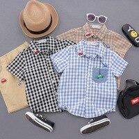 Baby Boy Shirts For Children 2019 Summer Short Sleeve Shirts Fashion Solid School Kids Boy Shirt Toddler Boy Blouses