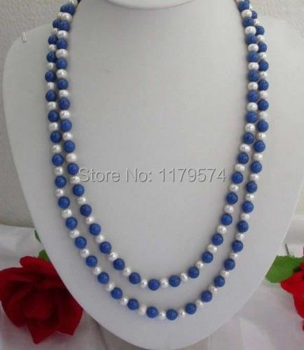 Classic fashion women jewelry Long Necklace Hot new fashion style free shipping 8mm Lazuli Lapis & white pearl Necklace 65""