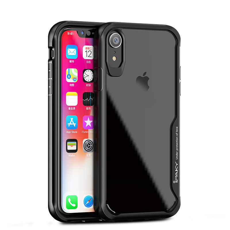 IPaky case For iphone XS / max transparent Back & tpu edge Cover For iphone XR case shockproof