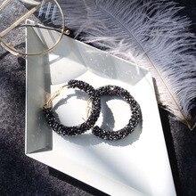 New Korean Simple Rhinestone Earrings Geometric Circle Drop Super Shiny Piece Earring Harajuku Laser Jewelry Gift N335
