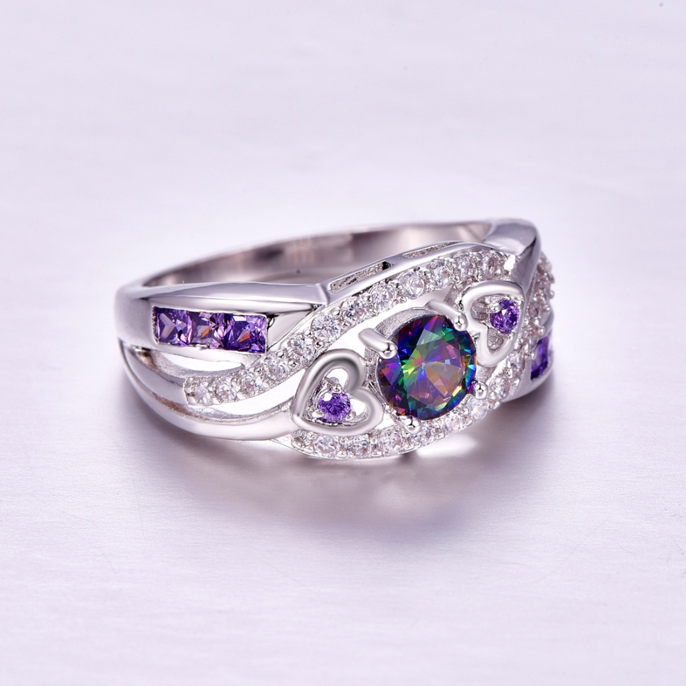 lingmei Dropshipping Fashion Women Wedding Jewelry Oval Heart Design Multicolor & Purple White CZ Silver 925 Ring Size 6 7 8 9 4