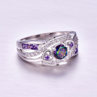 lingmei New Arrival Oval Heart Cut Design Multicolor & Purple White CZ Silver Color Ring Size 6 7 8 9 Fashion Women Jewelry Gift 3
