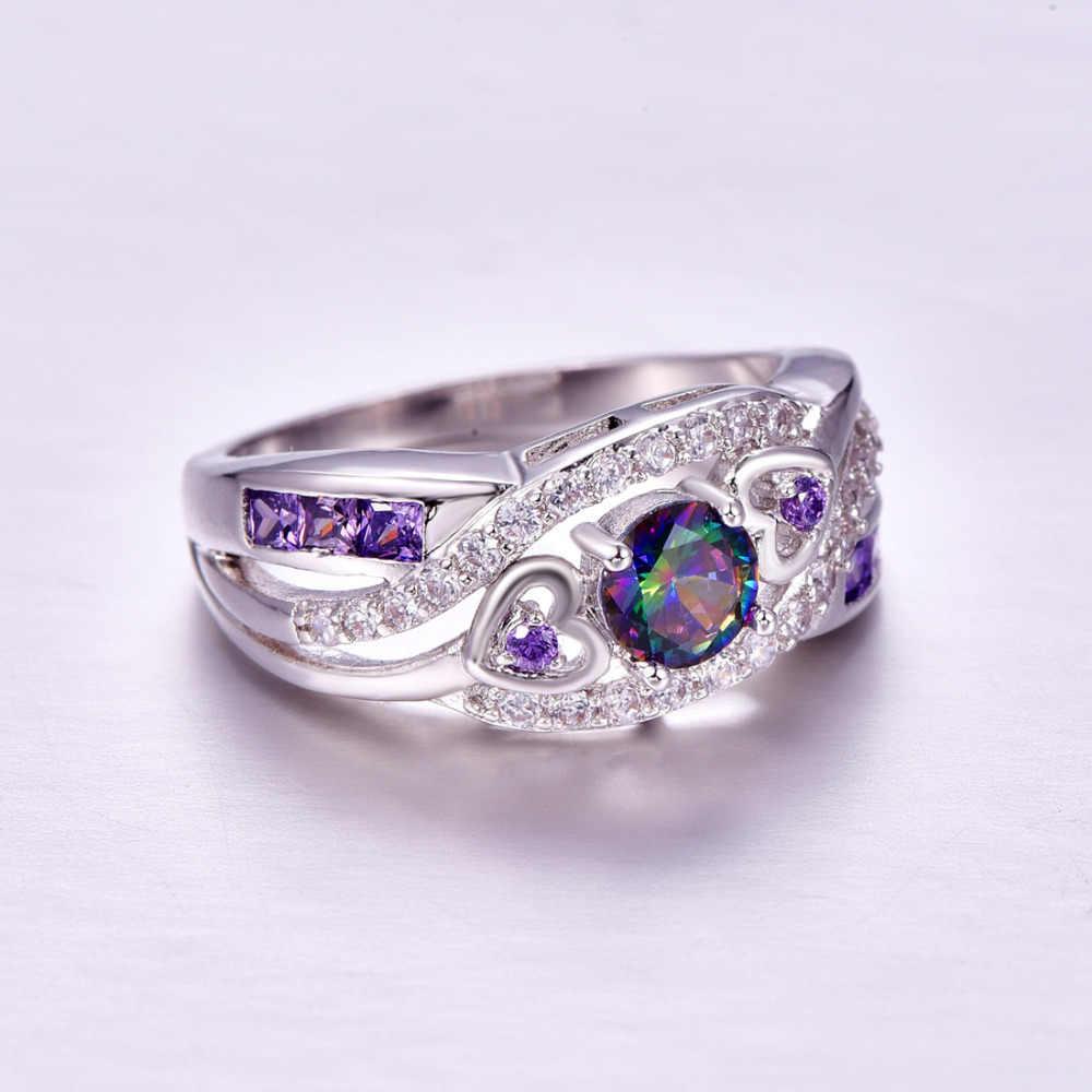 Lingmei Dropshipping Mode Frauen Hochzeit Schmuck Oval Herz Design Multi & Lila CZ Weiß Silber Farbe Ring Größe 6 7 8 9