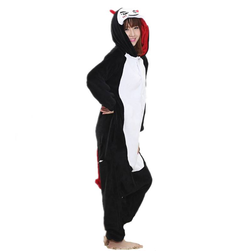 Funny Black Devil Kigurumi Soft Flannel One-Piece Pajamas Warm Demon Halloween Onesie For Adults Cosplay Party Costume Sleepwear (4)