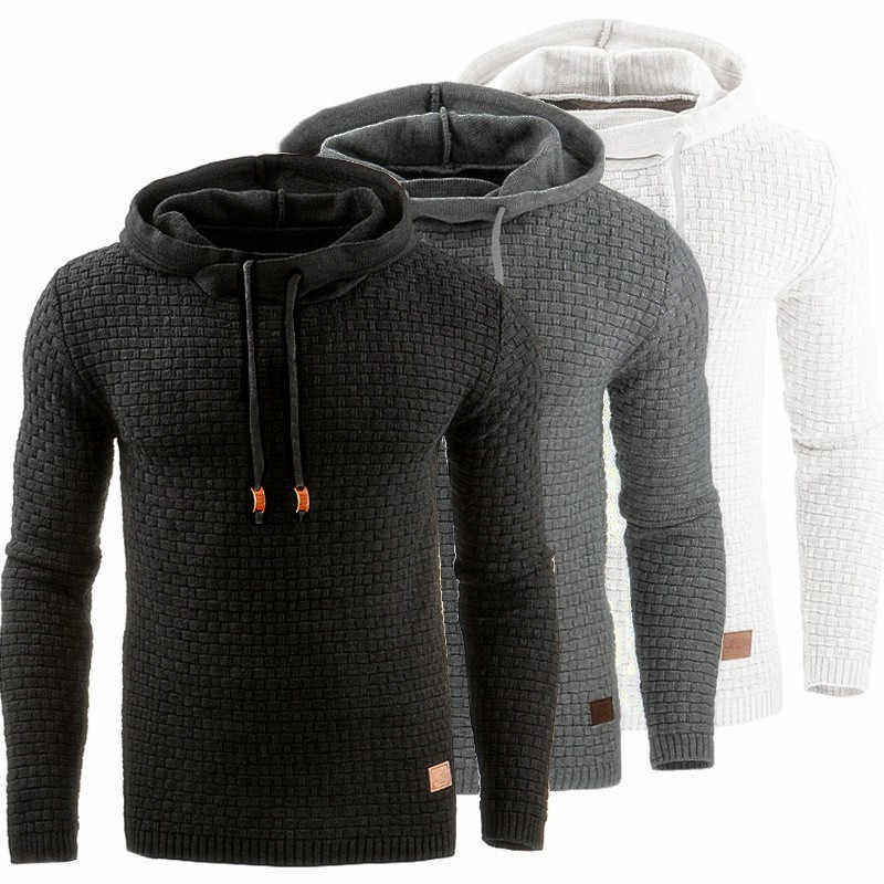 3889471ddf0b6 Hooded Mens Sweater Autumn Winter 2018 Long Sleeve Solid Color Tracksuit  Pullovers Casual Sweater Men Sportswear