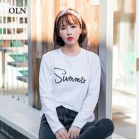 Women Summer T shirt Letter printing Kawaii T shirt Long Sleeve Cotton Tops Tees Female Funny T Shirts