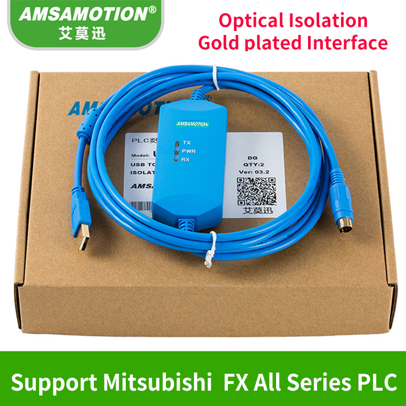 USB-SC09-FX Isolation Type Cable Suitable Mitsubishi FX Series PLC Programming Cable Adapter With 1Year Warrenty цена