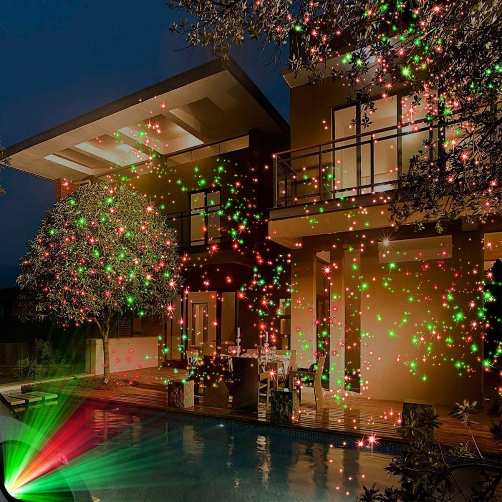 BEIAIDI Outdoor Christmas Laser Projector Light Full Sky Star Red Green LED Stage Lamp Garden Lawn Shower Landscape Laser Light