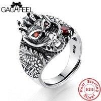 GAGAFEEL Heißer Verkauf 100% Echt 925 Sterling Silber Vintage Ringe für Männer Frauen Mode Coole Punk Dragon Head Schmuck Ring Bijoux