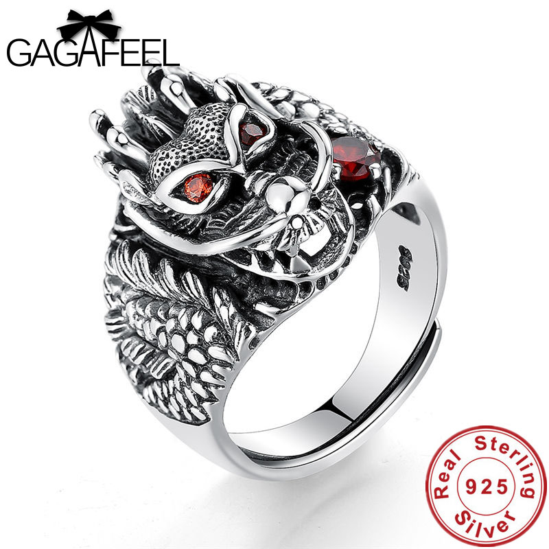 GAGAFEEL Hot Sale 100% Real 925 Sterling Silver Vintage Rings for Men Women Fashion Cool Punk Dragon Head Jewelries Ring Bijoux