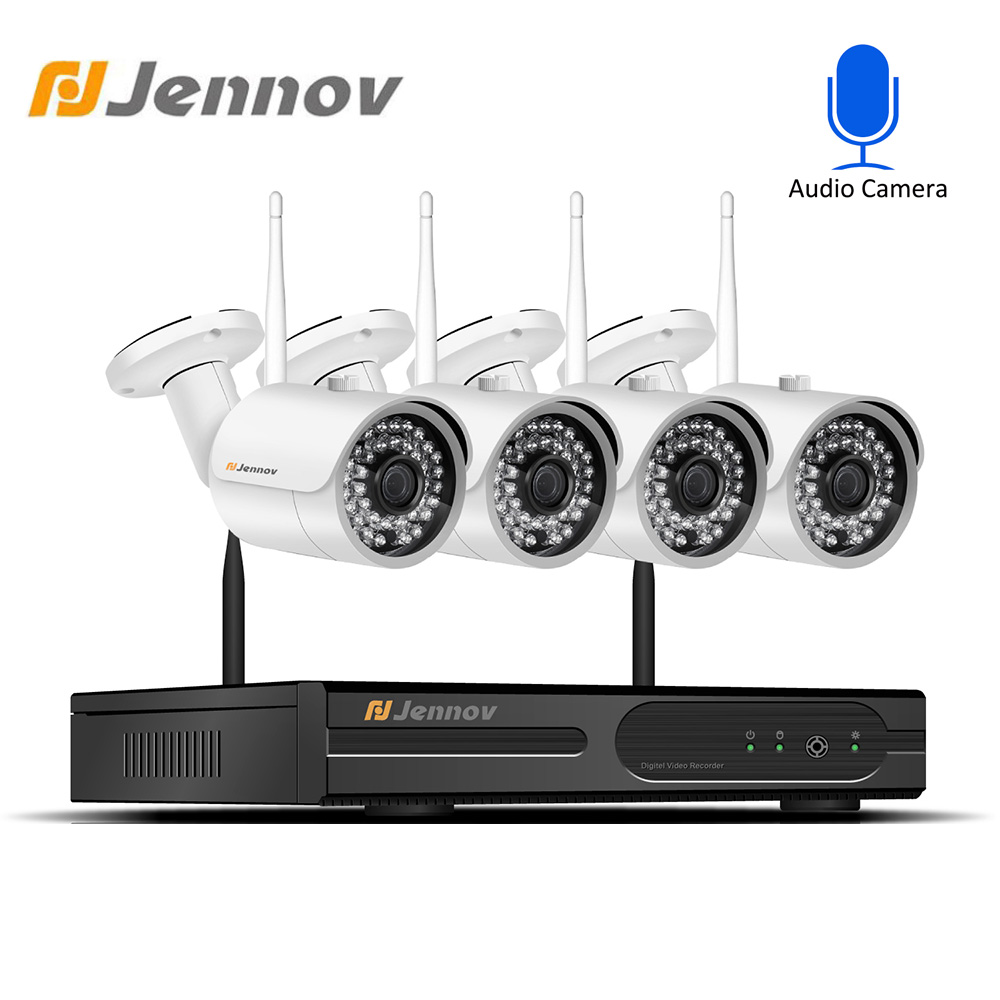 Jennov 4CH DVR CCTV Wireless Camera Security System Kit 2 0MP 1080P HD IR Outdoor Waterproof