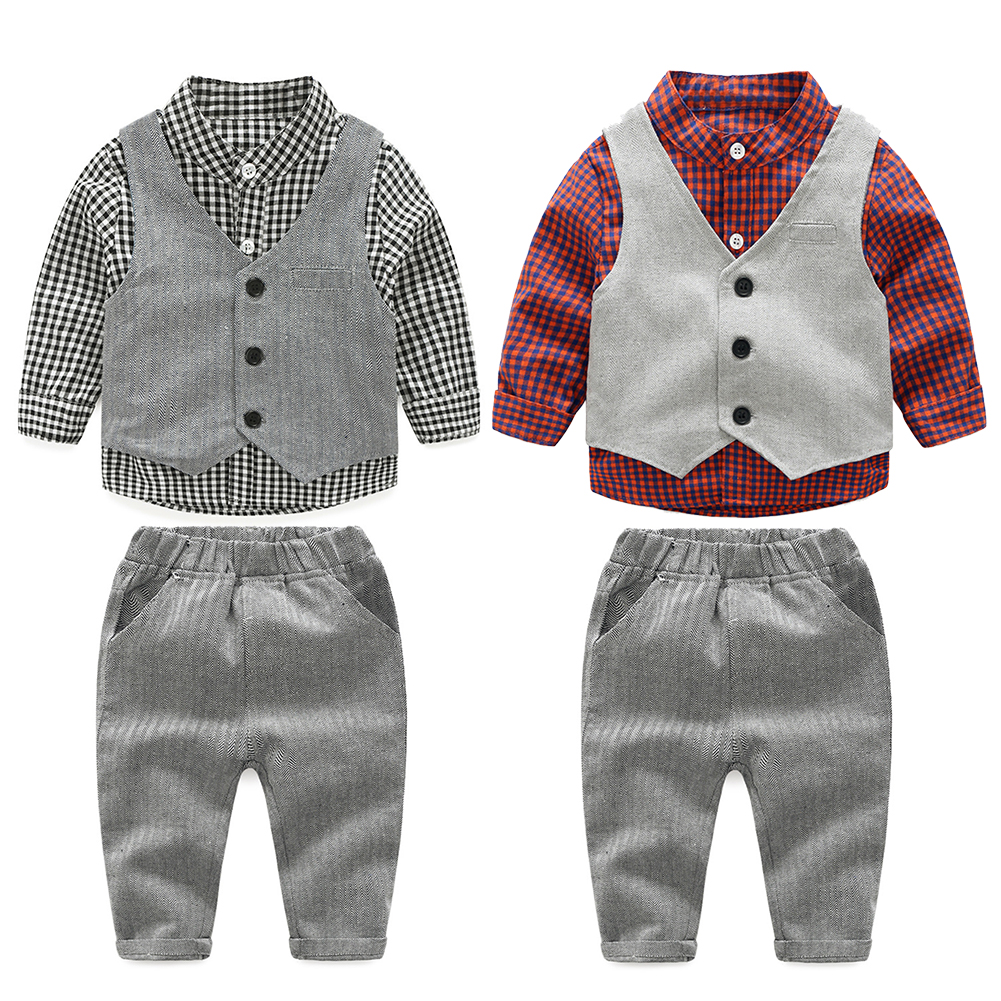 2017 Fashion Baby Boy Clothes Sets Gentleman Suit Toddler Boys Clothing Set Long Sleeve Kids Boy Clothing Set Birthday Outfits 2017 baby boys clothing set gentleman boy clothes toddler summer casual children infant t shirt pants 2pcs boy suit kids clothes