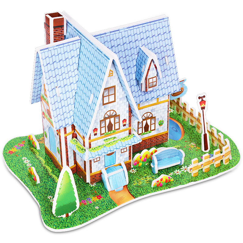 Kindergarten Cartoon Castle Garden House 3D Puzzle Jigsaw Educational Toys For Children Kids Craft Manualidades Diy
