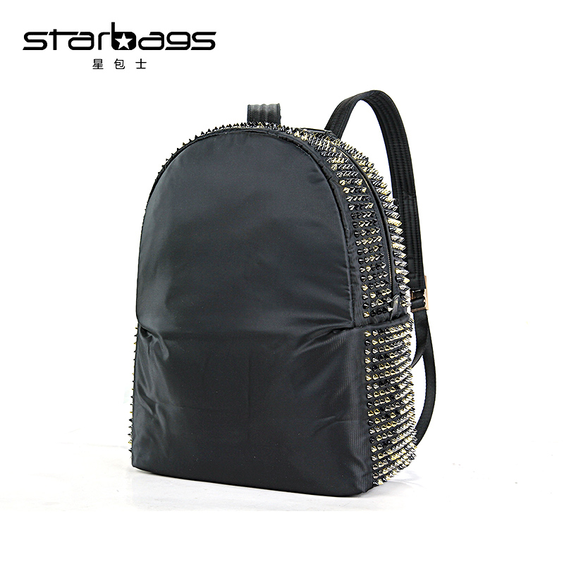 starbags fashion black soft  nylon and leather bags shoulder schoolbags travel women backpack with rivet korean backpack women backpacks rivet black soft leather bags shoulder schoolbags for girls female outdoor travel sports bag