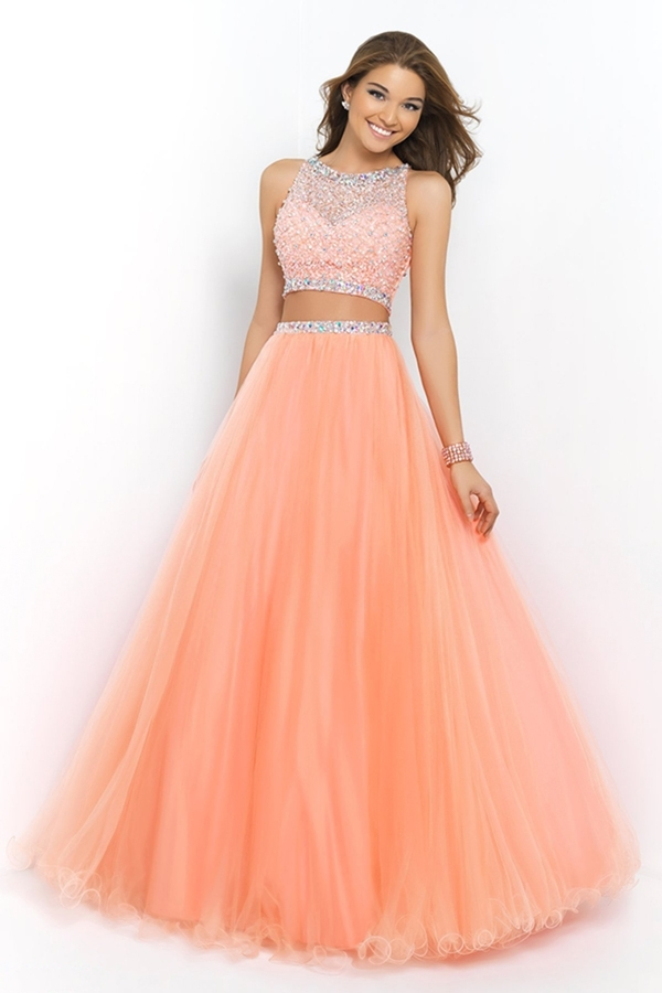 Fantastic Style 2 Piece Prom Dresses Long 2016 Scoop A Line Royal ...