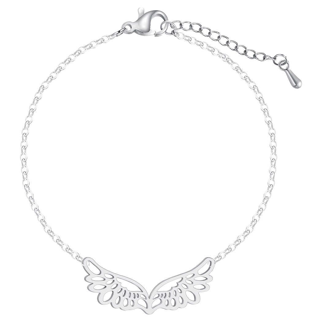 Cxwind Браслет-манжета из нержавеющей стали для женщин полые крылья ангела золотого цвета Pulseira Feminina Lover's обручальные ювелирные изделия