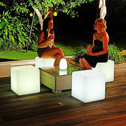 40*40*40CM RGB LED Cube Stool Light Rechargeable Remote Control Colorful LED Cubic Seat Lamps for Home Bar Garden Wedding Party