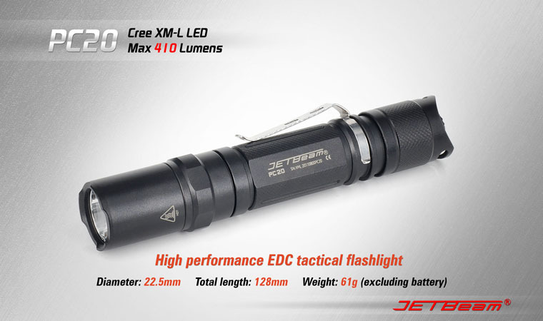 Free Shipping Original JETBEAM PC20 Cree XM-L T6 LED 410 lumens flashlight daily EDC torch Compatible with CR123 battery 3800 lumens cree xm l t6 5 modes led tactical flashlight torch waterproof lamp torch hunting flash light lantern for camping z93