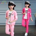 Spring Girls Sports Suit Velet Children Clothing Sets Baby Kids Sportswear Big Child Hoodies Jacket & Pants Twinset Clothes L334