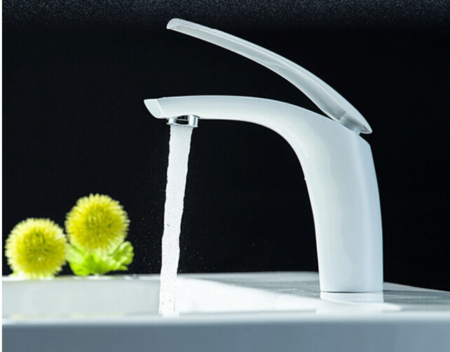 New arrival high quality White cold and hot single lever 17 cm height bathroom sink faucet basin faucet with 50cm plumbing hose pastoralism and agriculture pennar basin india