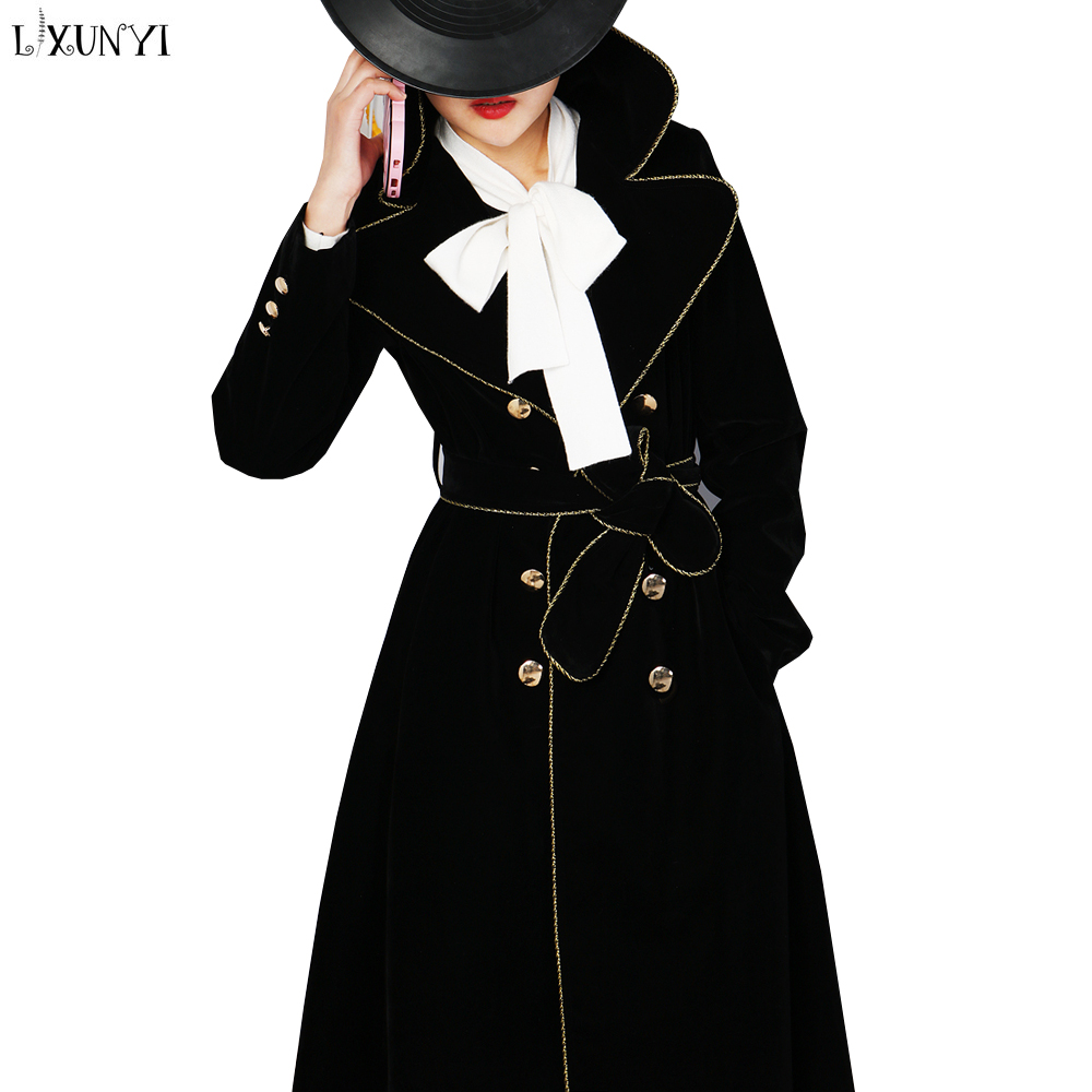 LXUNYI Slim Velvet Trench Coat Women Long Fall 2019 Fashion Bow Belt Elegant Trench Coat Outwear Gold Button Trenchcoat Vrouwen