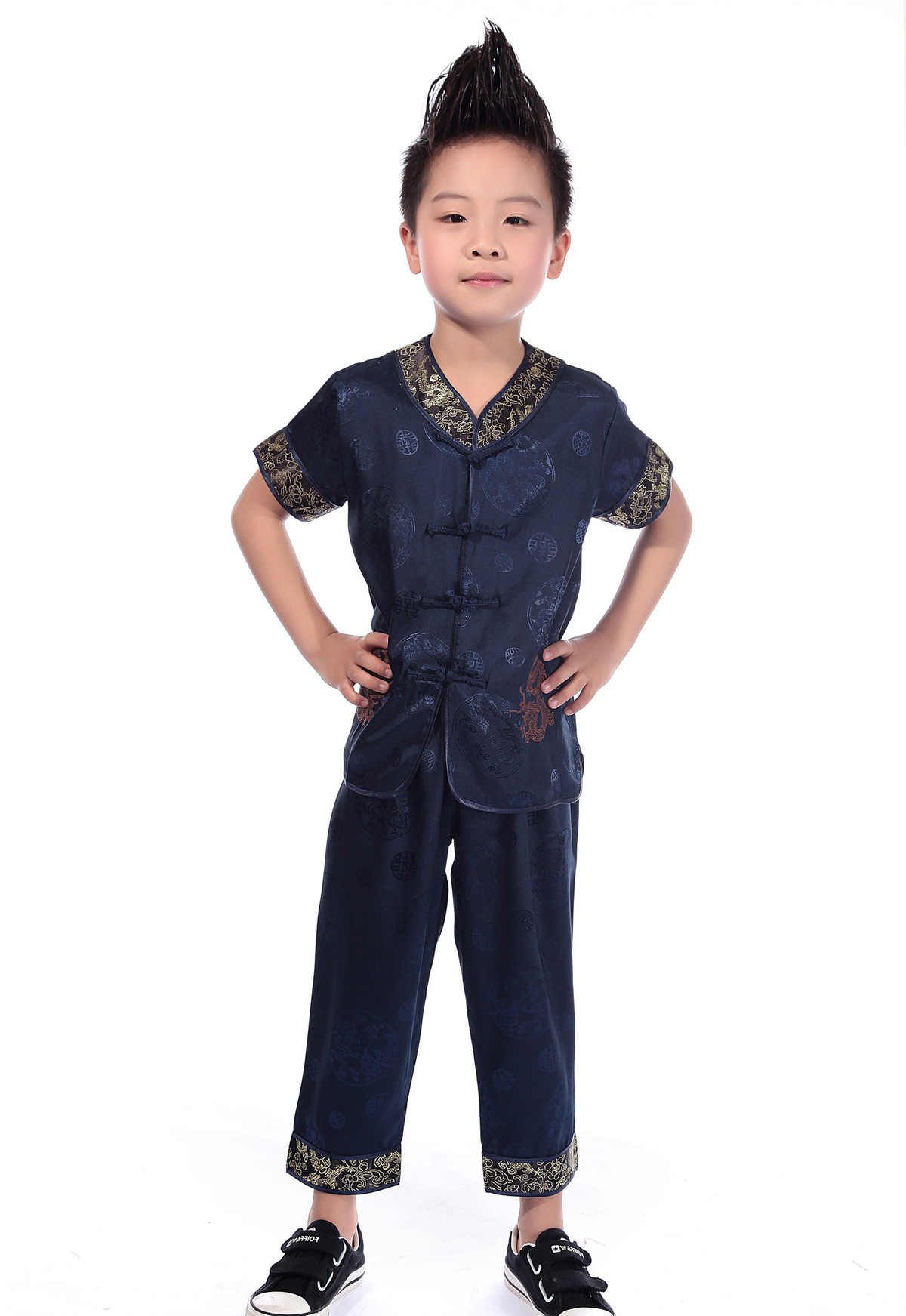 여름 새로운 어린이 당나라 의상 짧은 소매 정장 자수 빨간색 파란색 Yelllow 중국어 번체 Wushu 쿵푸 옷