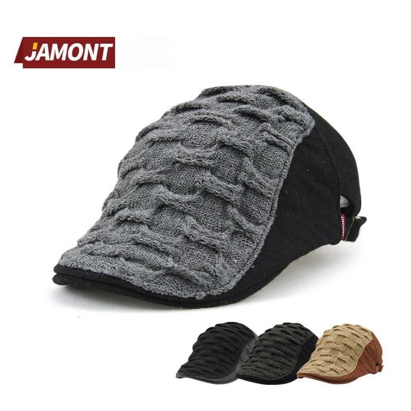 JAMONT Hat Berets-Hat Flat-Casquette-Cap Duckbill Peaked Retro Black Vintage Cotton Women