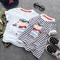 Novatx roupas menino listrado t camisa do bebê roupa infantil meninos t camisas de manga curta T camisa 2017new roupa dos miúdos das crianças roupas