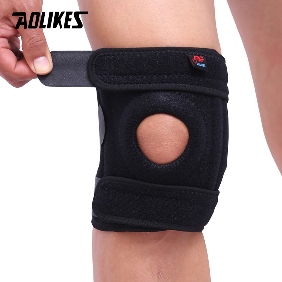 AOLIKES 1PCS Mountaineering Knee Pad with 4 Springs Support Cycling Knee Protector Mountain Bike Sports Safety Kneepad Brace
