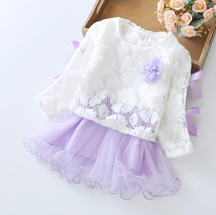 4409d7cfce1 Baby Girls Spring Summer Princess Lace Flower Dresses 2016 New Toddler  Little Girls First Birthday Tutu Long Sleeve Dresses-in Dresses from Mother    Kids on ...