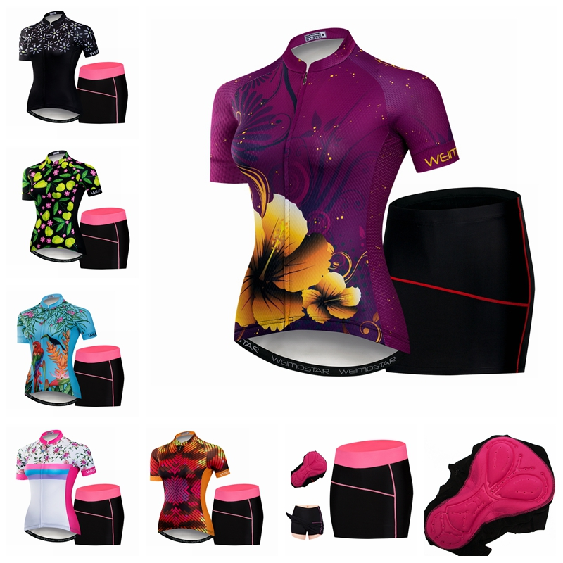 Weimostar Flowers Women's Cycling Jersey sets Pink Girls Short Sleeve MTB bicycle mini dress shorts Maillot Racing Bike Clothing new flowers skulls woman s bicycle jersey shorts suit bike bicycle short sleeve clothing set sportswear cycling clothes