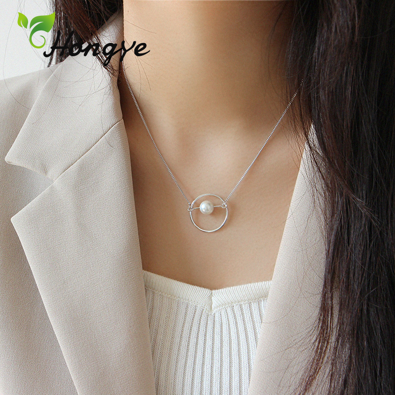 Hongye Silver Chain Pearls Necklaces Big Loop Girls Pendant Necklace Shell Pearl Personalized Collar Jewelry 2019 Accessories