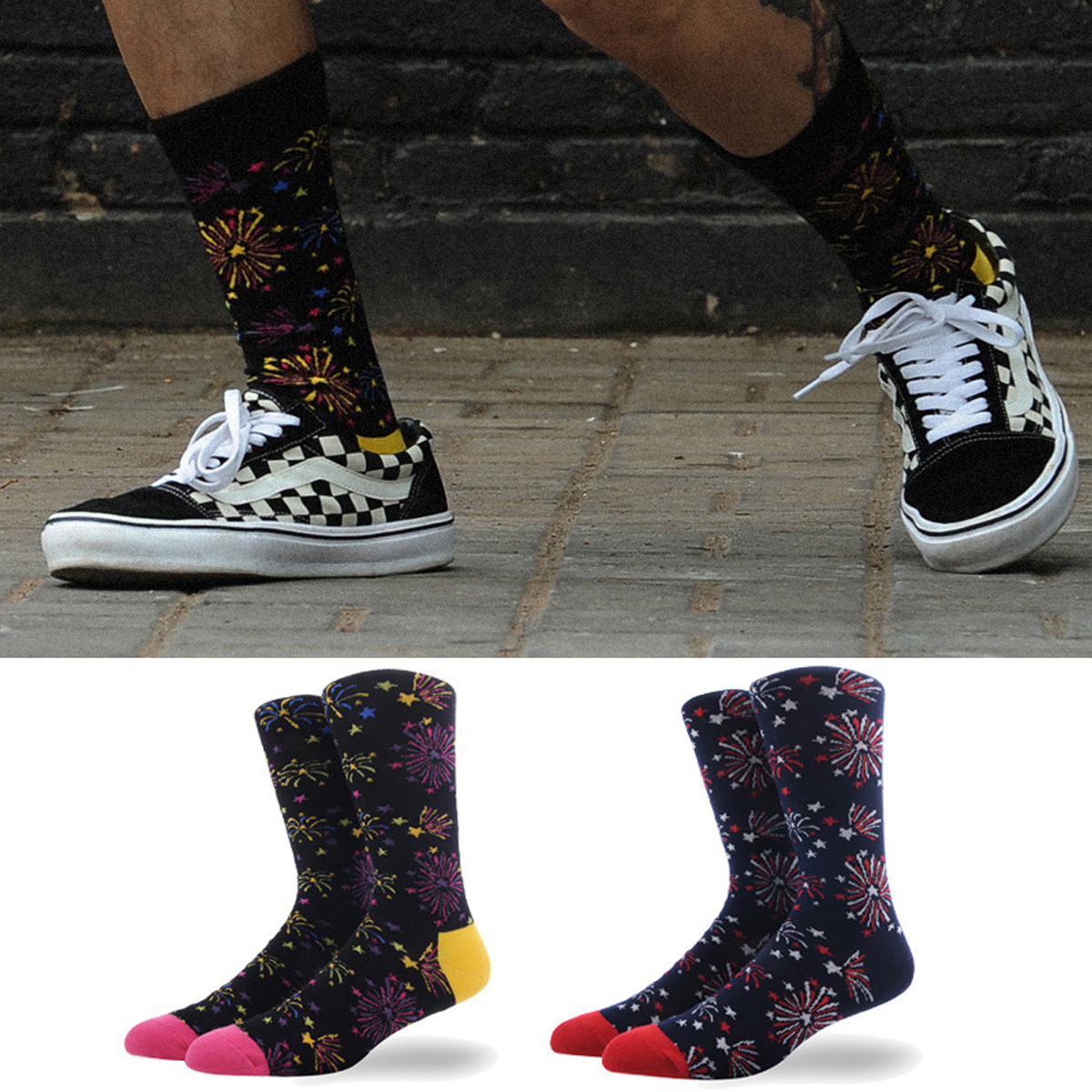 Creative New Men Socks Fireworks Novelty Happy Socks Cotton Harajuku Funny Hip Hop Socks Mens Weed Socks