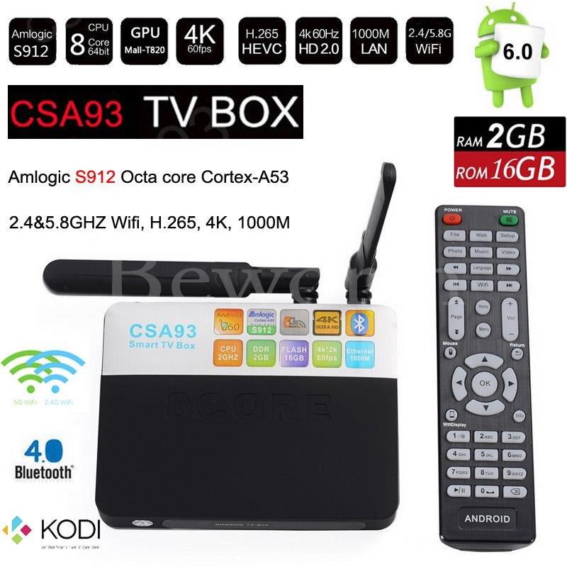 Android 6.0 TV Box 2GB 16GB Amlogic S912 Octa Core Smart Mini PC 2.4G/5.8G Wifi Bluetooth 4K TVbox KODI Professional CSA93 zidoo x6 android 5 1 tv box rk3368 octa core kodi 3d mini pc