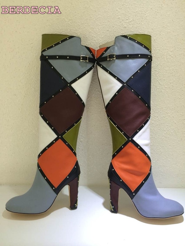 Multi-color stitching thick with high-heeled women's high boots round toe color matching knee high boots woman shoes цена 2017