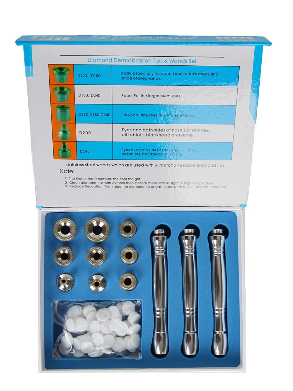 MAKARTT Diamond Microdermabrasion Accessories Replacement Set with Stainless Steel Tips E0375