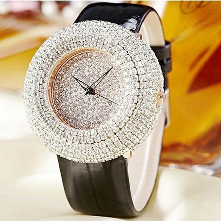 Prix pour 2016 D'été Femmes Plein Strass Montres Autriche Cristal Diamant Pierre Montre Grand Cadran Robe Montres En Cuir Véritable Montre-Bracelet