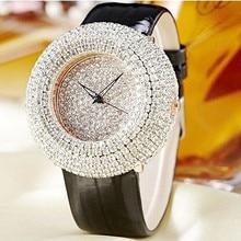 2016 Mujeres Del Verano Rhinestone Lleno Relojes Reloj Grande Del Dial de Austria de Cristal de Diamante de Piedra Vestido de Relojes de Pulsera de Cuero Genuino