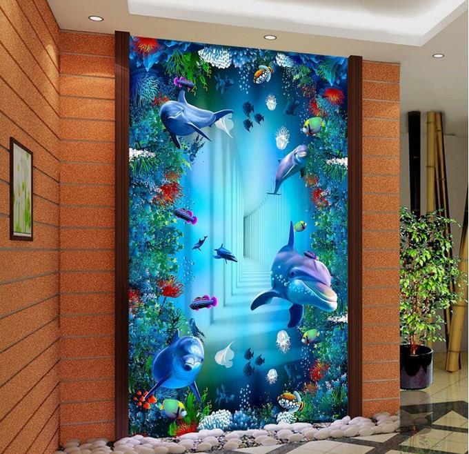 3d Boden Eigene Tapete Vinyl Ocean Welt Dolphins 3d Boden Tapeten