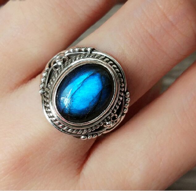 Nepal Silver Sterling Silver Ring Inlaid Labradorite Big Yards Size NumberNepal Silver Sterling Silver Ring Inlaid Labradorite Big Yards Size Number