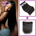 Peruvian Virgin Hair Straight 3/4 Bundles With Closure Full Lace Frontal Closure With Bundles Straight Human Hair With Frontal