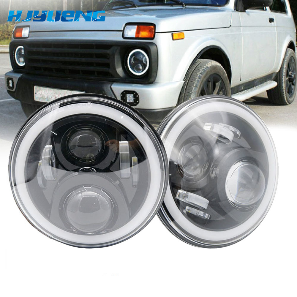 """7Inch LED Headlamps with Halo Ring Amber Turn Signal For lada niva 4x4 suzuki samurai 7"""" LED DRL Halo Headlights For VAZ 2101-in Car Light Assembly from Automobiles & Motorcycles"""