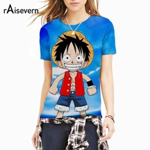 Raisevern New Fashion Anime ONE PIECE 3D T Shirt Young Luffy Cartoon Character Print Crewneck T-shirt Harajuku Summer Style Tops