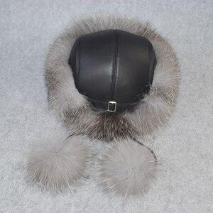 Image 2 - 2020 w nowym stylu zima rosyjski 100% naturalne prawdziwe futro z lisa kapelusz kobiety jakości prawdziwe futro z lisa Bomber kapelusze dziewczyna prawdziwe prawdziwe futro z lisa Cap
