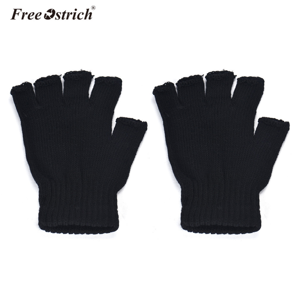 Free Ostrich Casual Autumn Winter Men Gloves Black Knitted Stretch Elastic Warm Half Finger Fingerless Gloves Mittens Male A1620