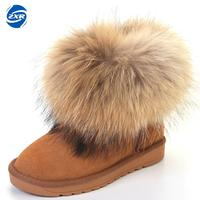 Snow Ankle Boots Cow Suede Leather Big Fox Fur Women Short Winter Ankle Snow Boots For