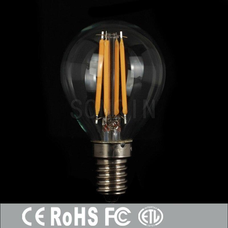 Bright Led Bulb: 1pcs Super Bright E27 E14 LED Bulb Filament Light Glass