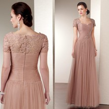 a245e7767b Champagne long Mother of the Bride Dresses 2015 short Sleeves Floor-length  Tulle Lace Appliques